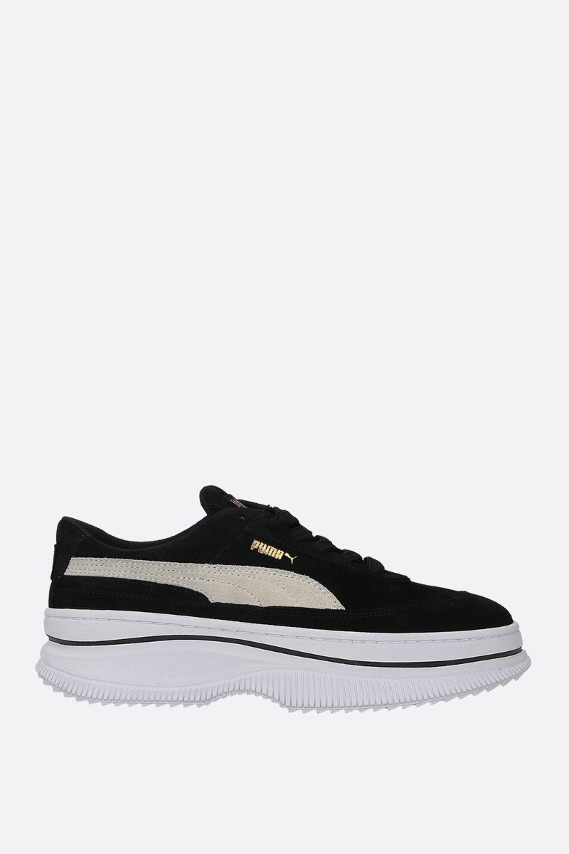PUMA: Deva suede flatform sneakers Color Black_1