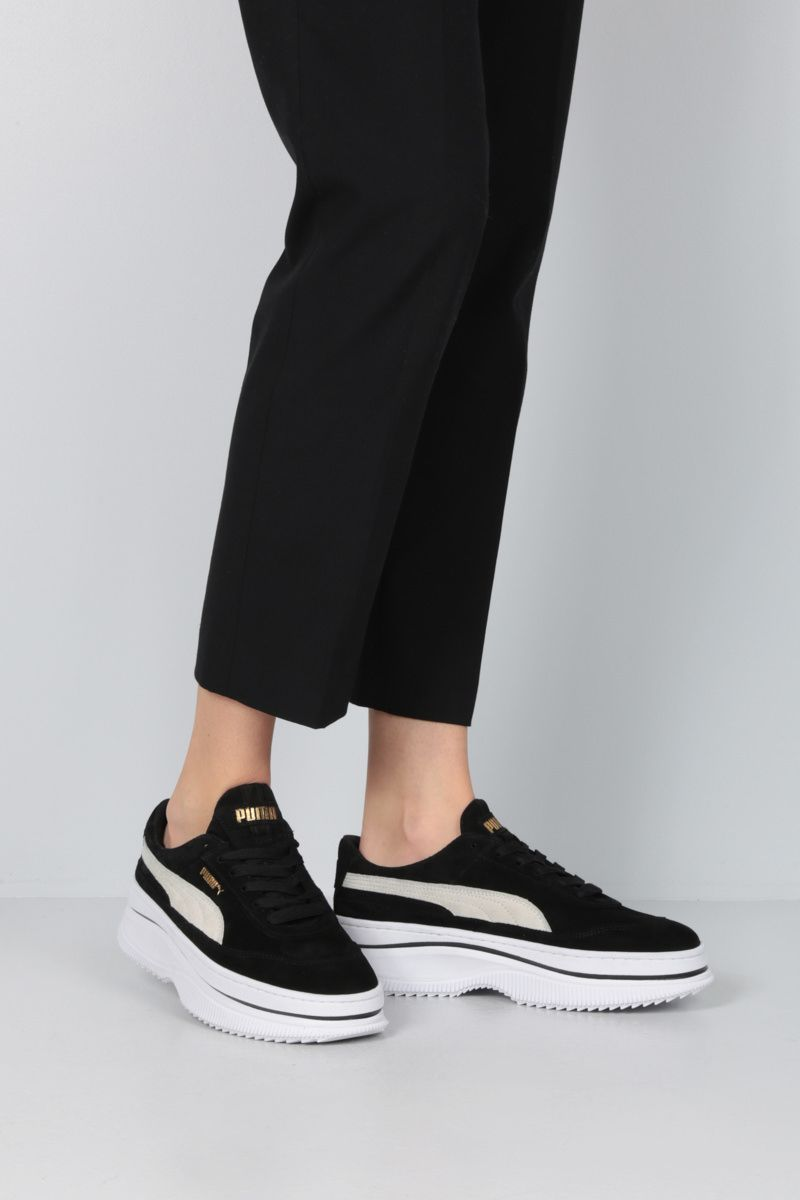 PUMA: Deva suede flatform sneakers Color Black_2