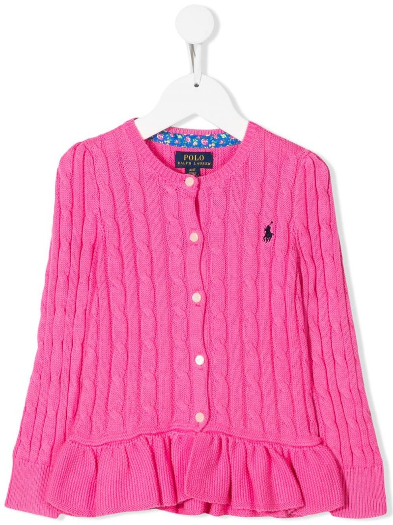 RALPH LAUREN KIDS: Pony embroidered cotton cardigan Color Pink_1