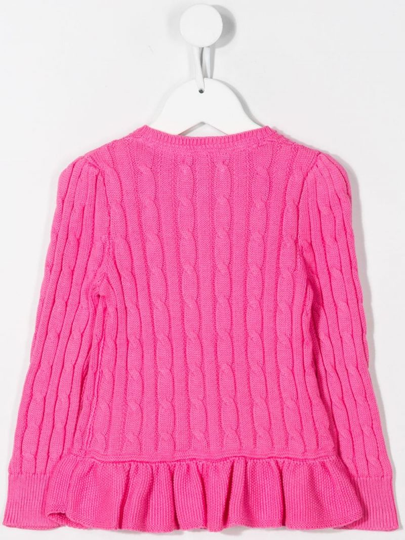 RALPH LAUREN KIDS: Pony embroidered cotton cardigan Color Pink_2