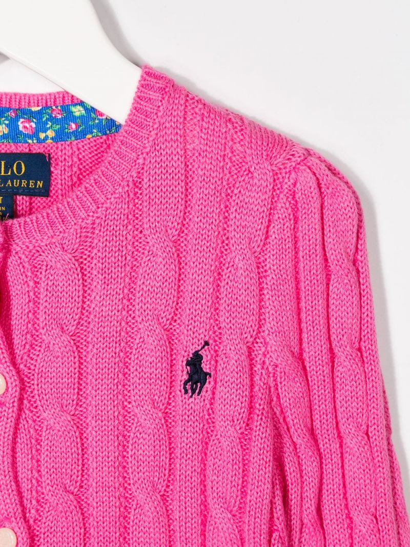 RALPH LAUREN KIDS: Pony embroidered cotton cardigan Color Pink_3