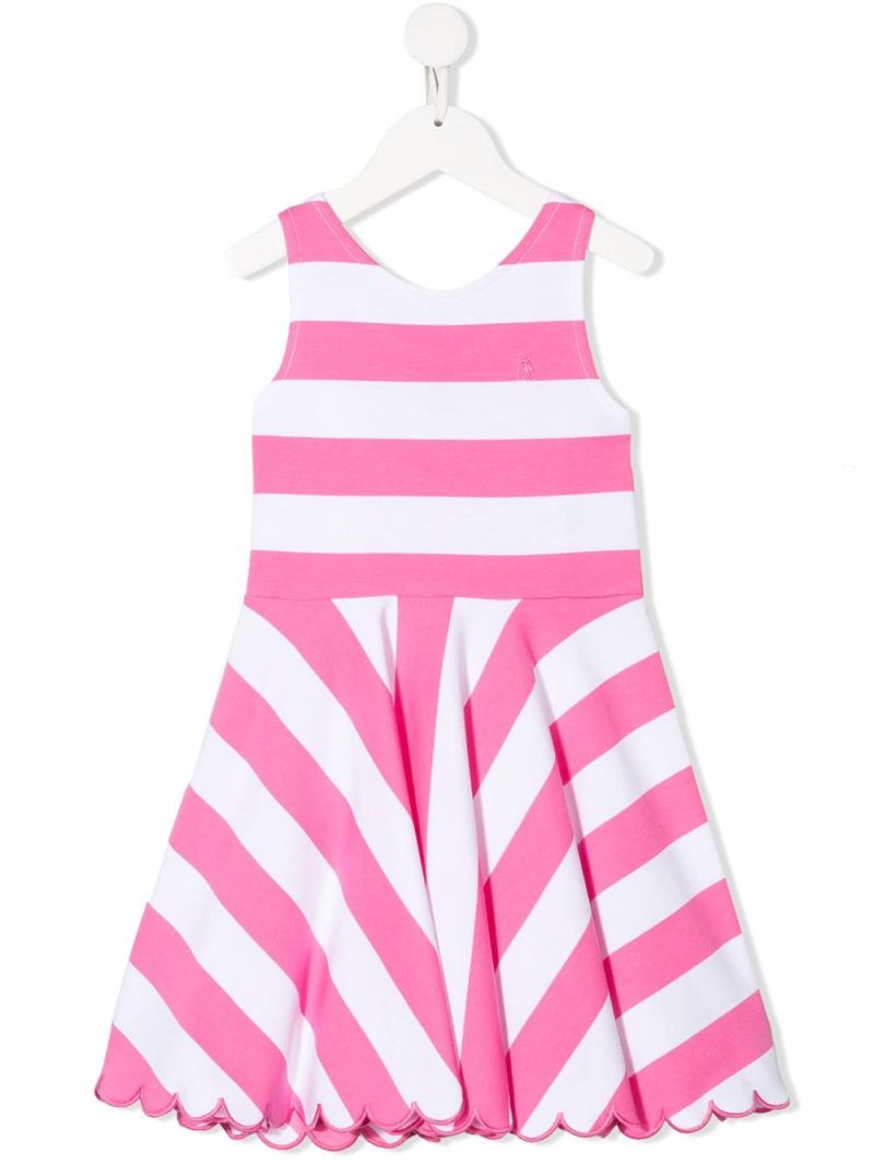 RALPH LAUREN KIDS: striped cotton blend sleeveless dress Color Pink_1