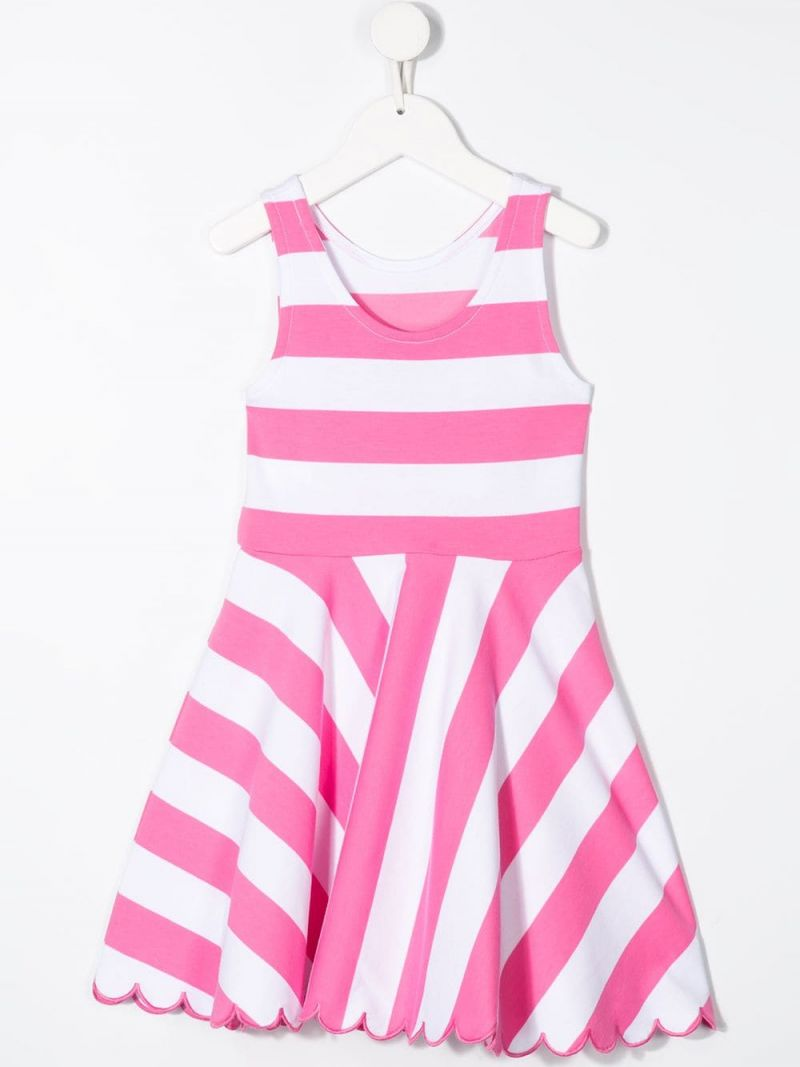 RALPH LAUREN KIDS: striped cotton blend sleeveless dress Color Pink_2