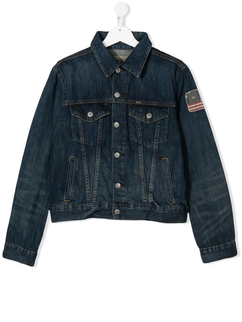 RALPH LAUREN KIDS: American Flag patch denim jacket Color Blue_1