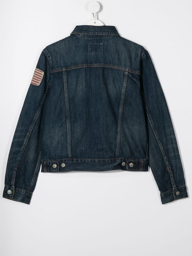 RALPH LAUREN KIDS: American Flag patch denim jacket Color Blue_2
