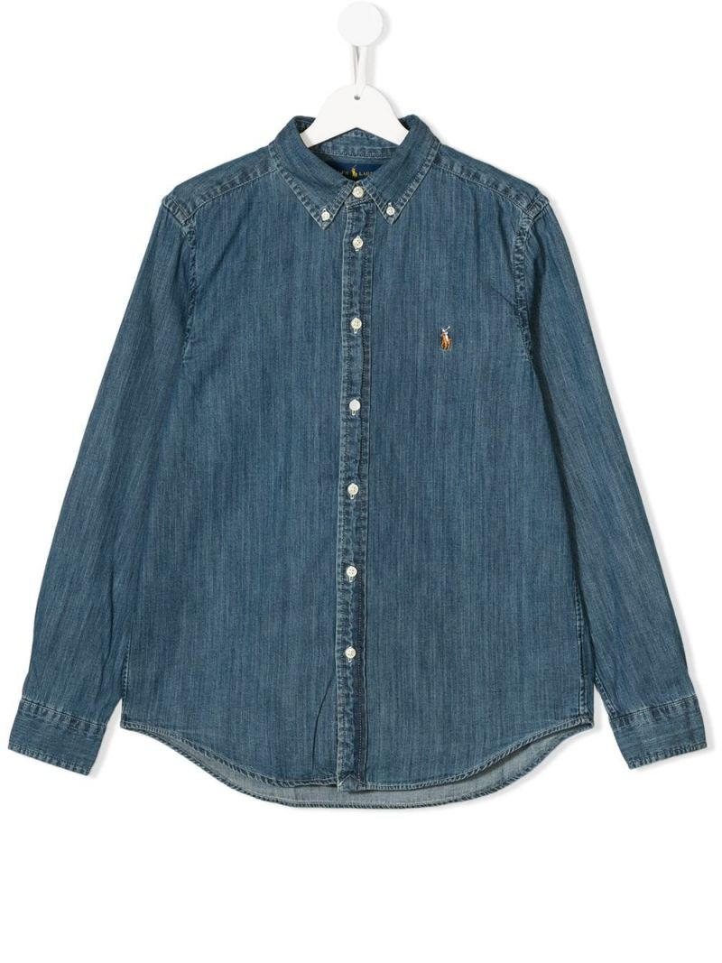 RALPH LAUREN KIDS: cotton chambray shirt Color Blue_1