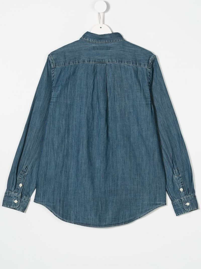 RALPH LAUREN KIDS: cotton chambray shirt Color Blue_2