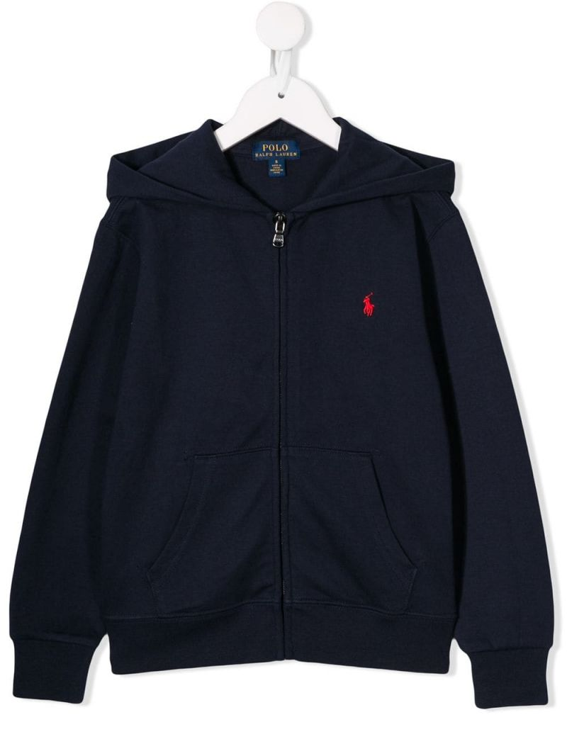 RALPH LAUREN KIDS: Pony embroidered jersey full-zip hoodie Color Blue_1