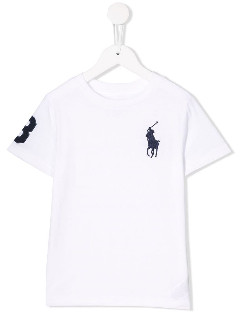 RALPH LAUREN KIDS: Big Pony embroidered cotton t-shirt Color White_1