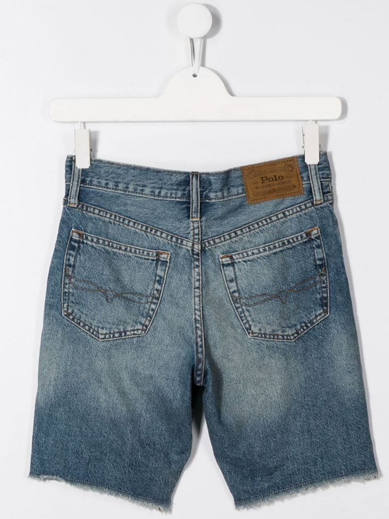 RALPH LAUREN KIDS: pantalone corto in denim Colore Blu_2