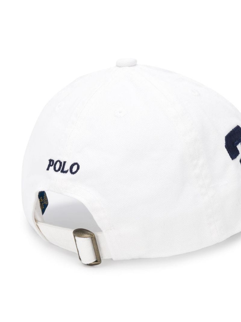 RALPH LAUREN KIDS: cappellino baseball in canvas ricamo Pony Colore Bianco_2