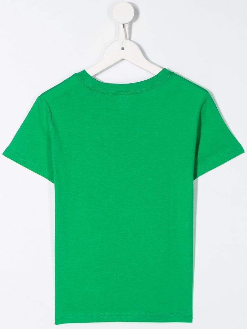 RALPH LAUREN KIDS: Football Bear print cotton t-shirt Color Green_2