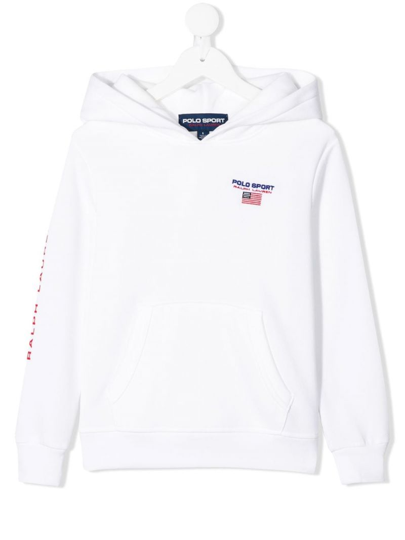 RALPH LAUREN KIDS: Polo Sport cotton blend hoodie Color White_1