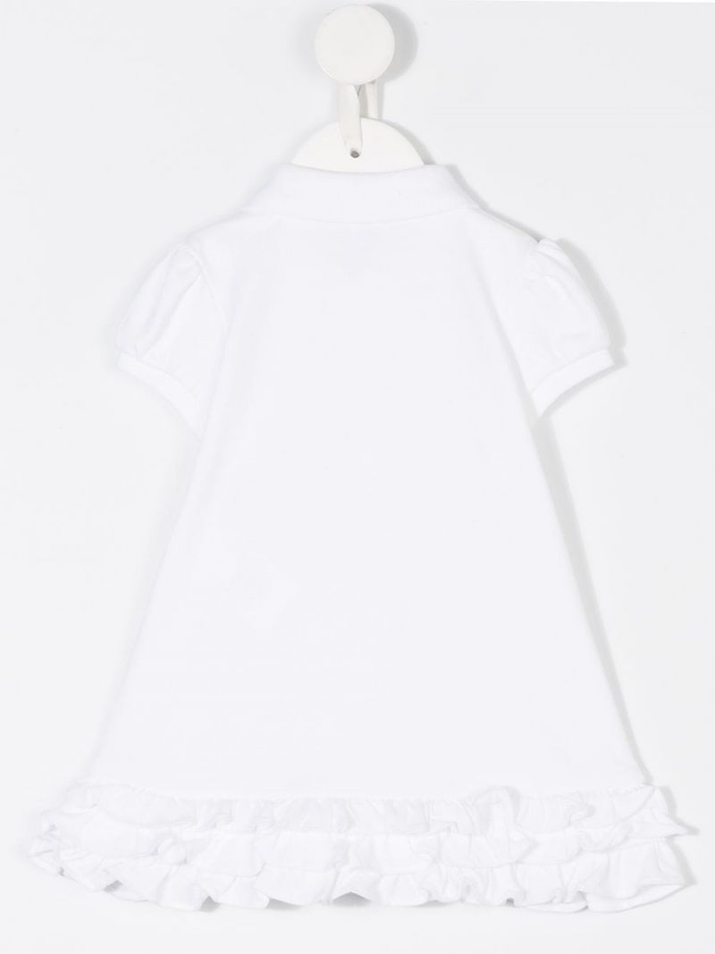 RALPH LAUREN KIDS: logo embroidered cotton polo dress Color White_2
