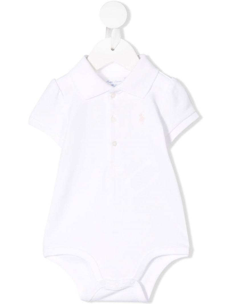 RALPH LAUREN KIDS: Pony embroidered cotton babygrow Color White_1