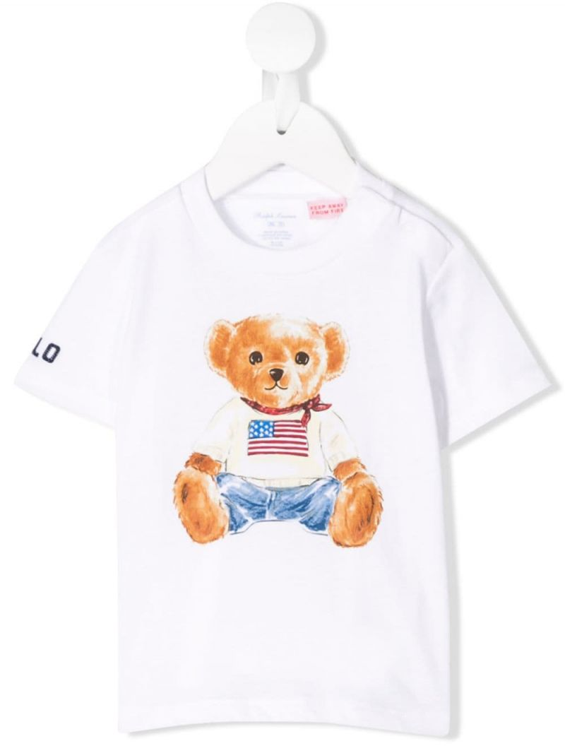 RALPH LAUREN KIDS: Polo Bear print cotton t-shirt Color White_1