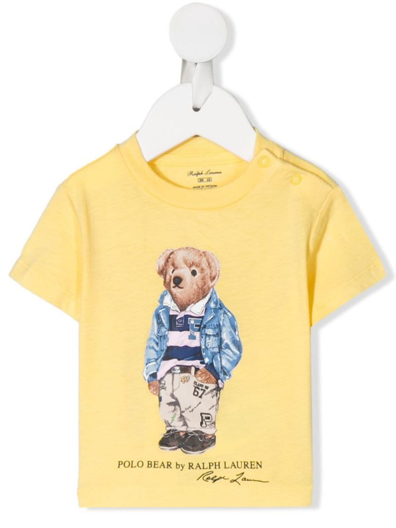 RALPH LAUREN KIDS: Preppy Bear print cotton t-shirt Color Yellow_1