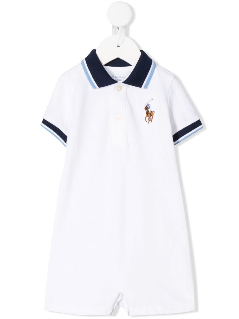 RALPH LAUREN KIDS: Big Pony embroidered cotton romper suit Color White_1