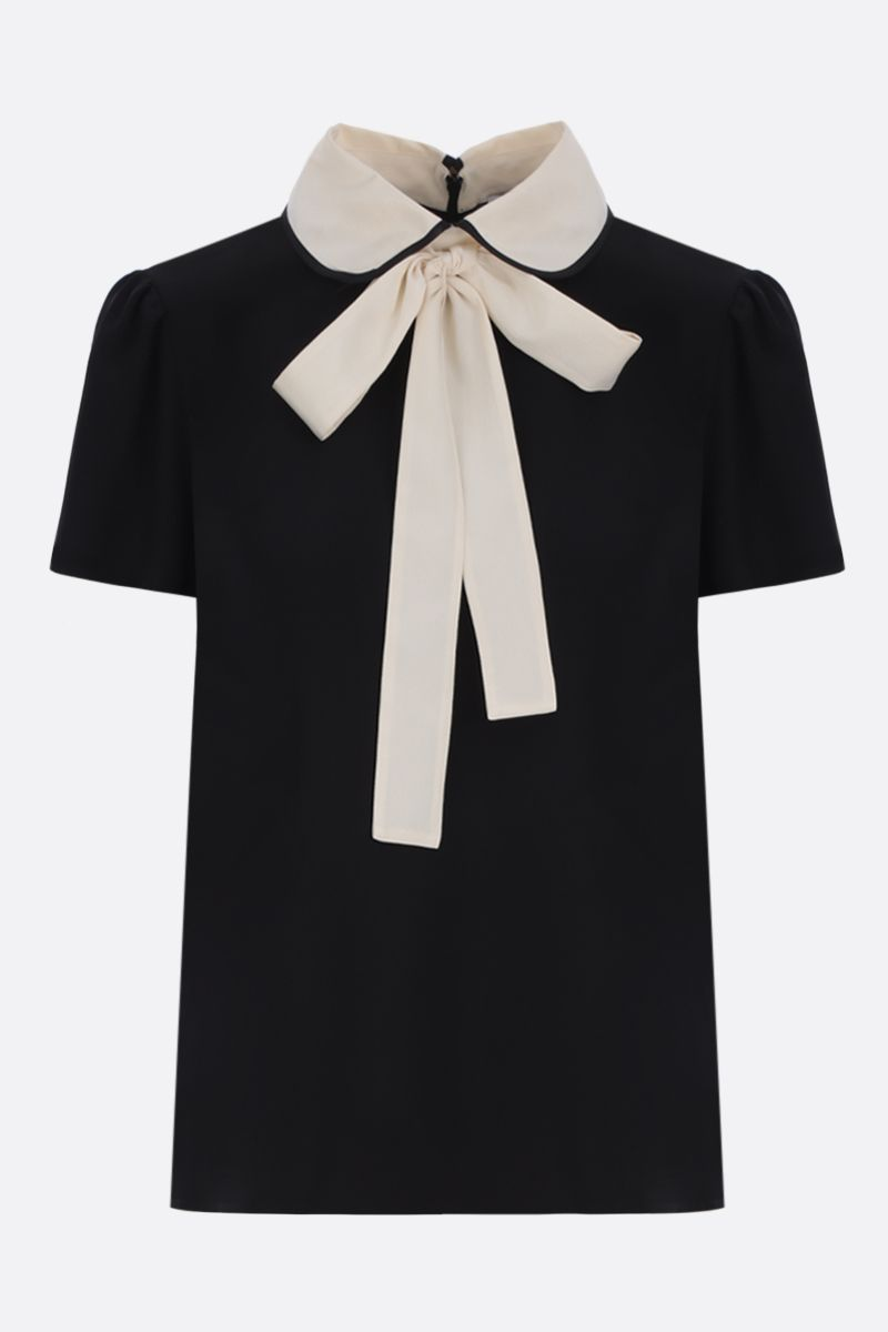 RED VALENTINO: crepe de chine blouse with bow detailing Color Black_1