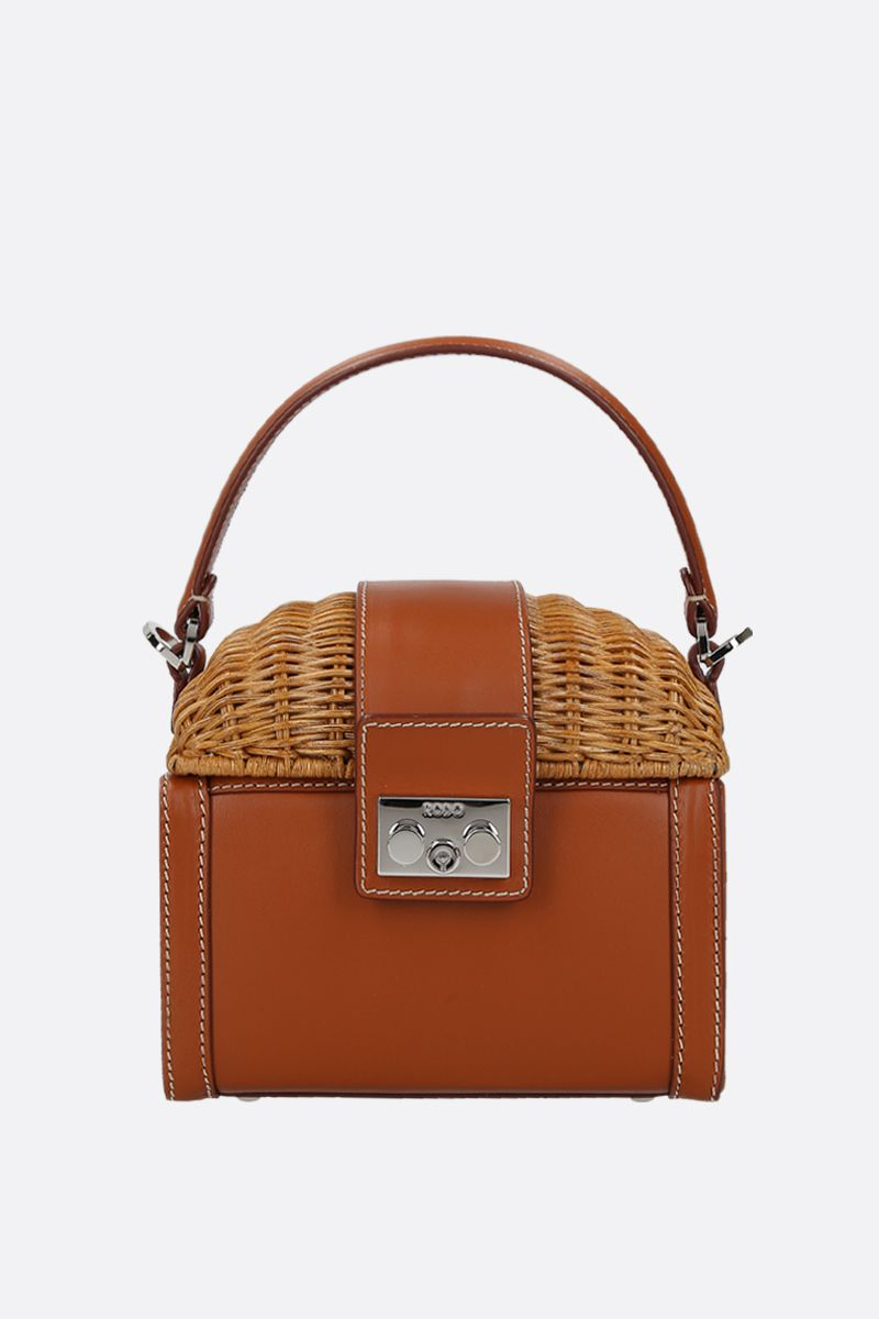 RODO: wicker and smooth leather top handle bag_1