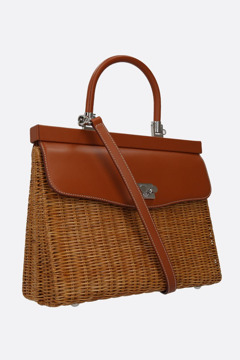RODO: wicker and smooth leather top handle bag_2