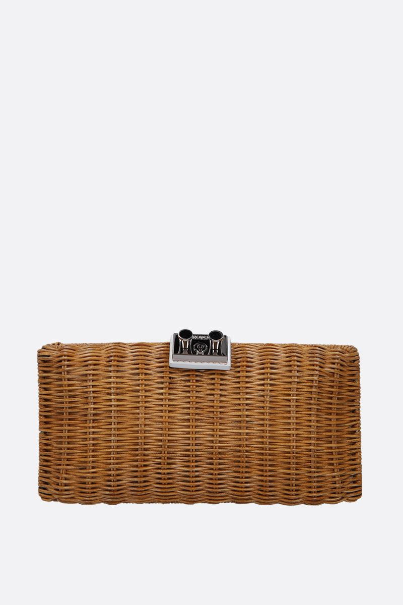 RODO: leather-detailed wicker chain clutch Color Brown_1