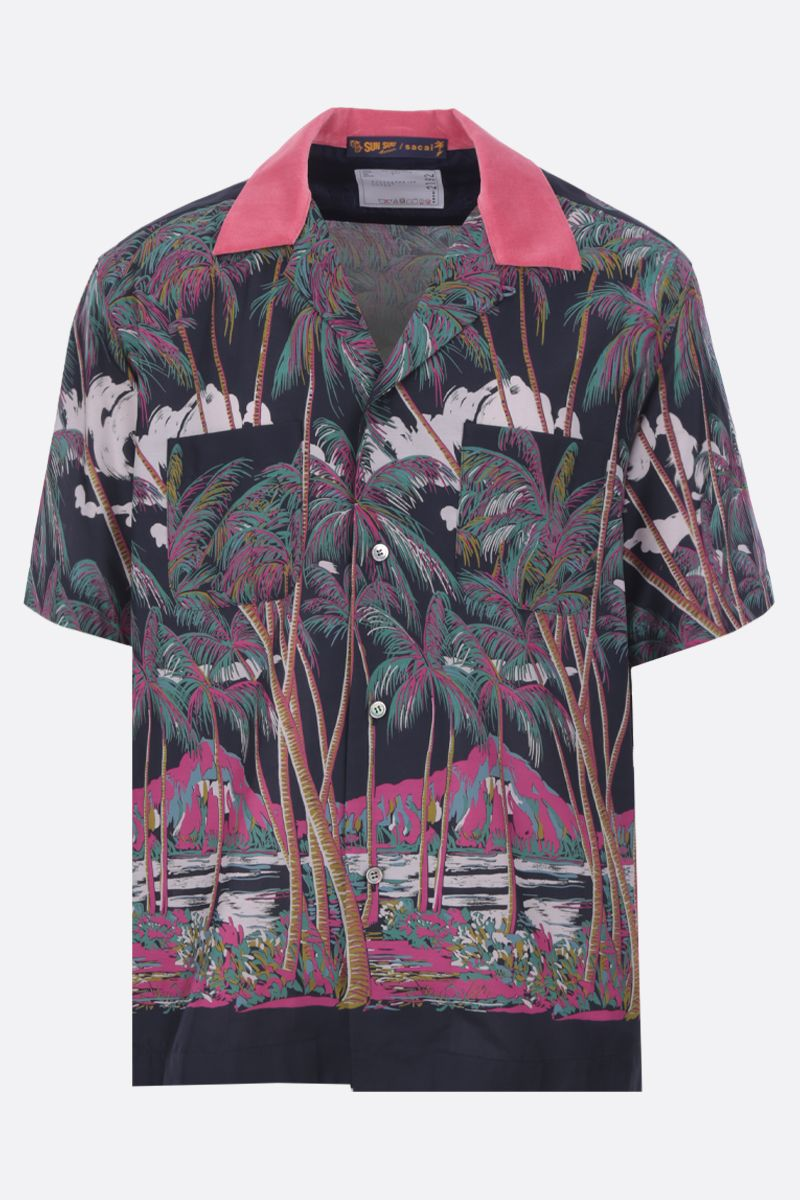 SACAI: Sun Surf print twill bowling shirt Color Multicolor_1