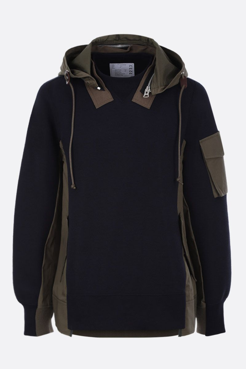 SACAI: jersey sweatshirt with popeline inserts Color Blue_1