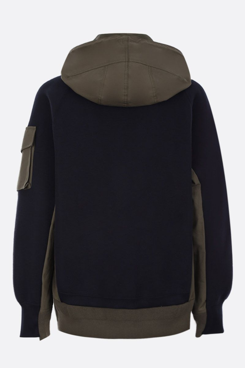 SACAI: jersey sweatshirt with popeline inserts Color Blue_2