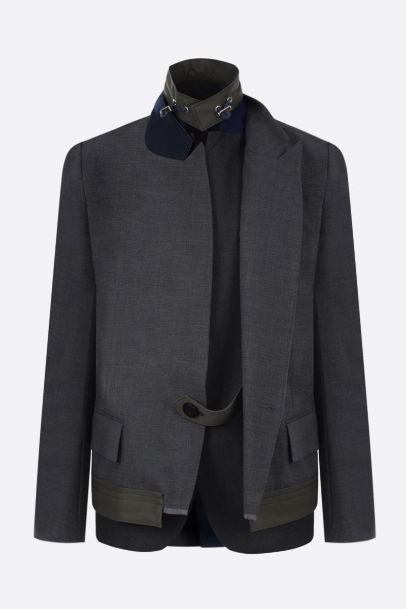 SACAI: wool blend destructured jacket with vest_1