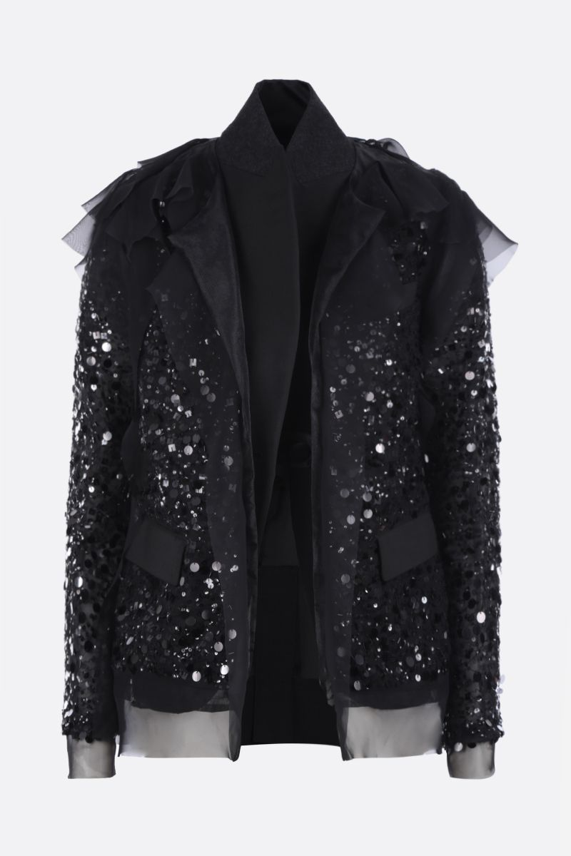 SACAI: sequinned organdy destructured jacket Color Black_1