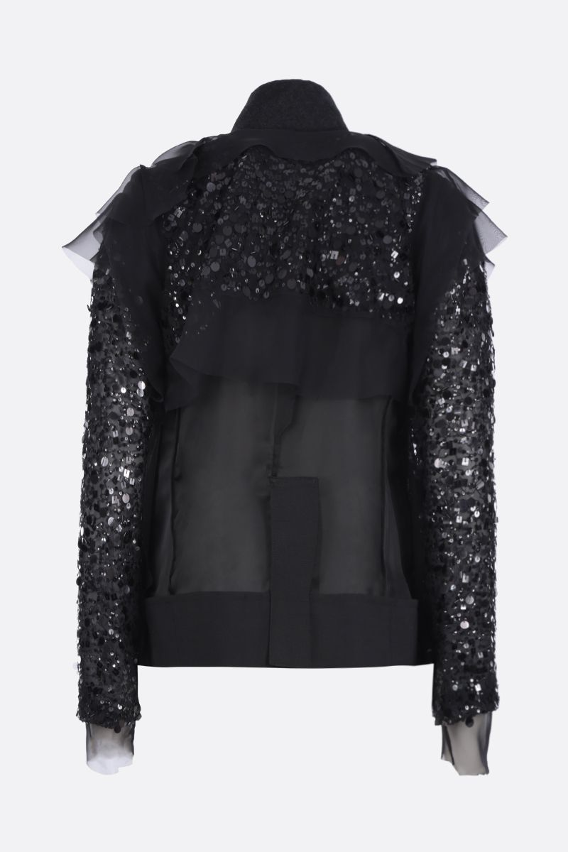 SACAI: sequinned organdy destructured jacket Color Black_2