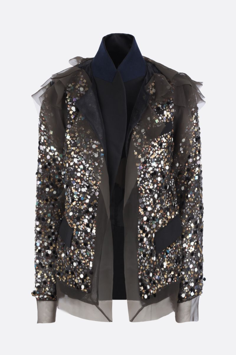 SACAI: sequinned organdy destructured jacket Color Brown_1
