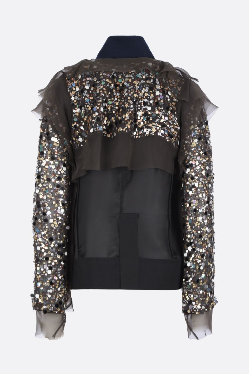 SACAI: sequinned organdy destructured jacket Color Brown_2
