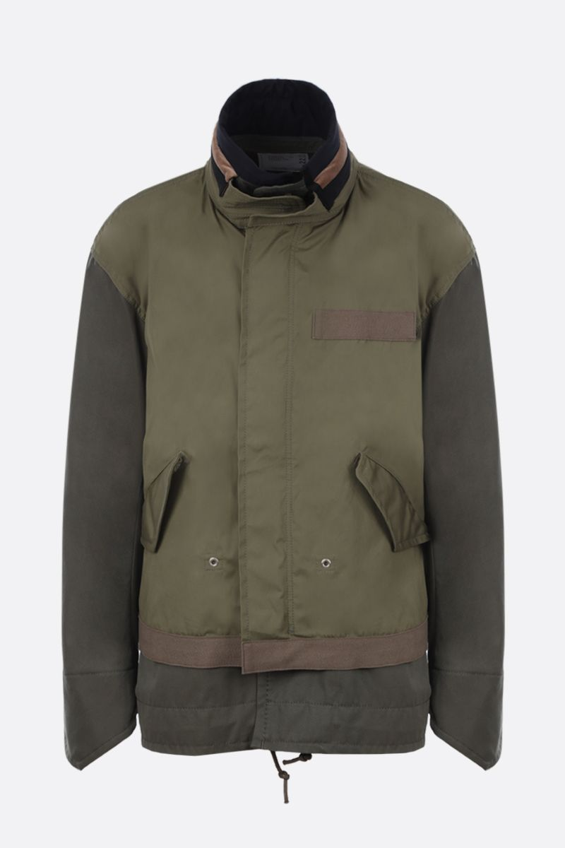 SACAI: cotton full-zip jacket with overlapped panel Color Brown_1
