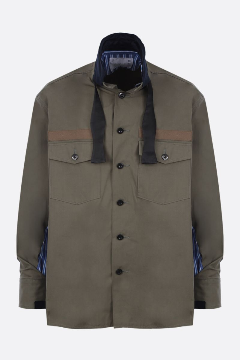 SACAI: cotton blend overshirt with poplin inserts Color Brown_1