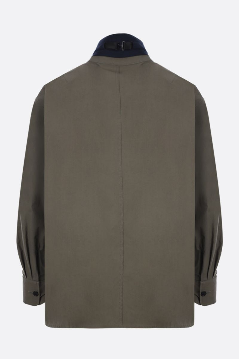 SACAI: cotton blend overshirt with poplin inserts Color Brown_2