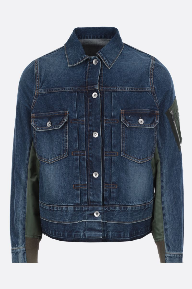 SACAI: denim jacket with nylon inserts Color Blue_1