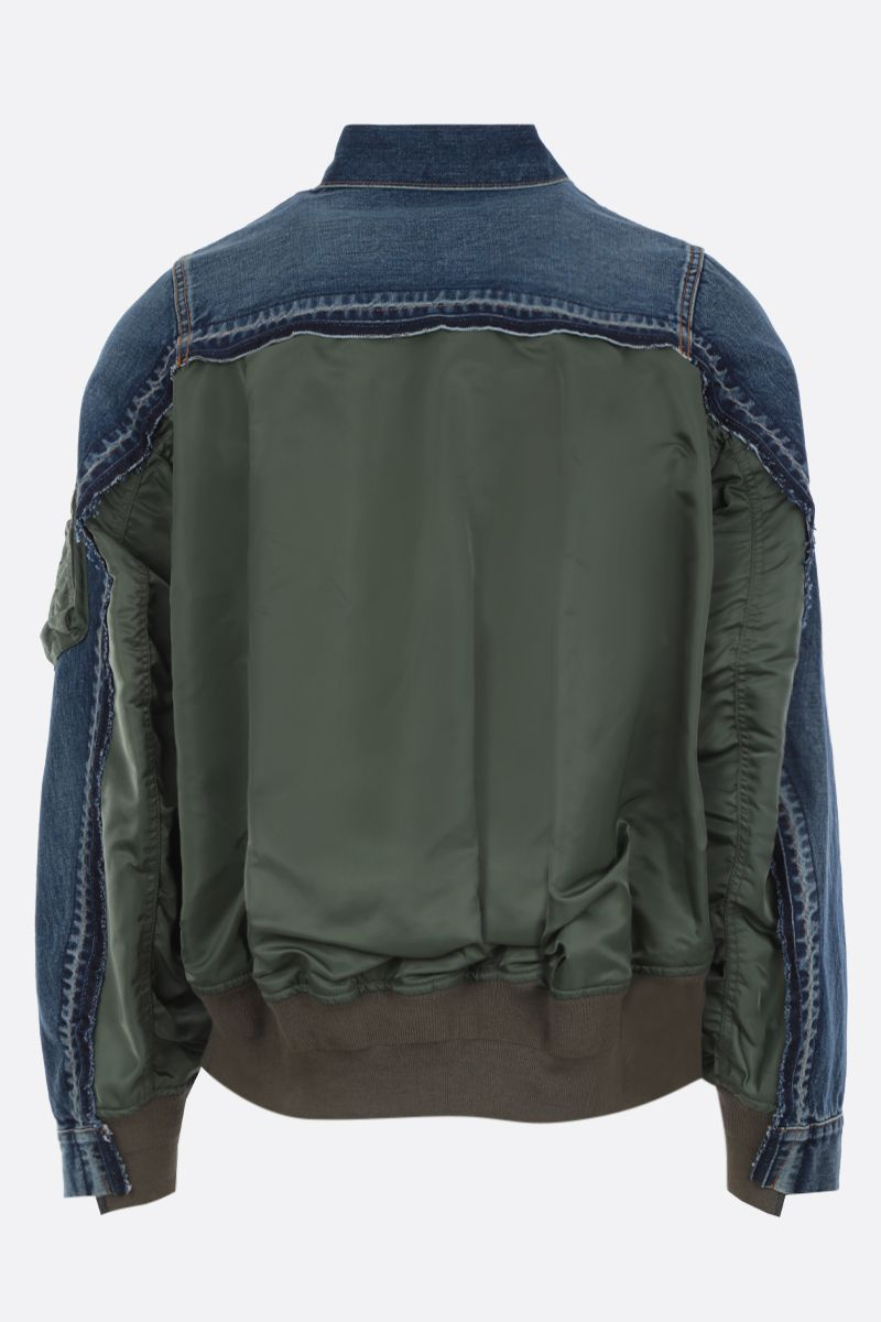 SACAI: denim jacket with nylon inserts Color Blue_2