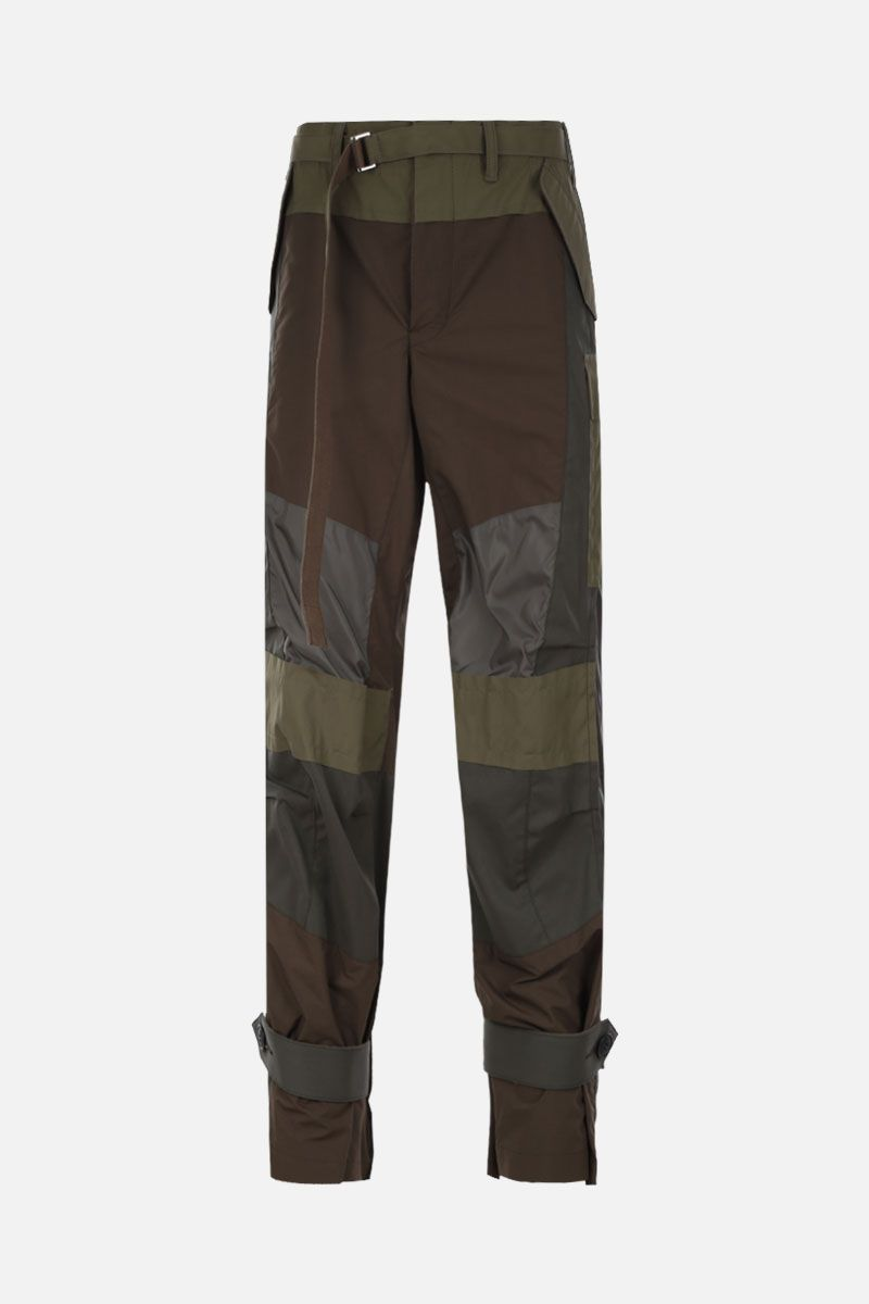SACAI: cotton cargo pants with nylon inserts Color Brown_1