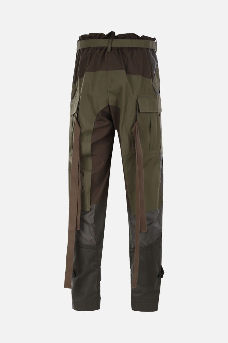 SACAI: cotton cargo pants with nylon inserts Color Brown_2