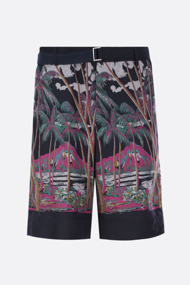 SACAI: Sun Surf print twill shorts Color Multicolor_1
