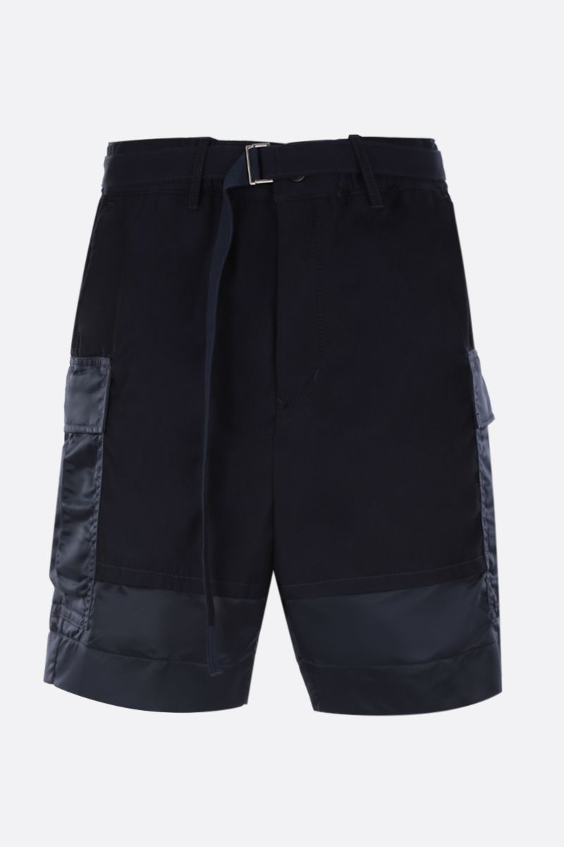 SACAI: cotton cargo shorts with nylon inserts Color Blue_1