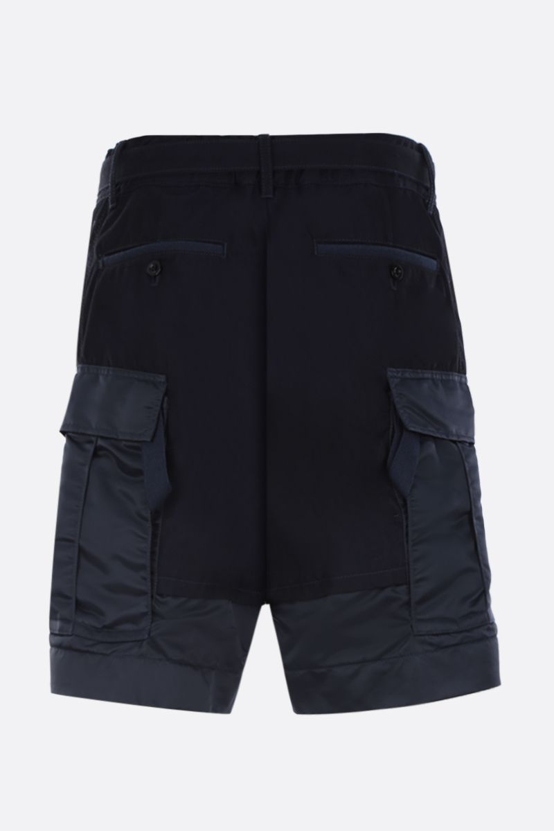 SACAI: cotton cargo shorts with nylon inserts Color Blue_2