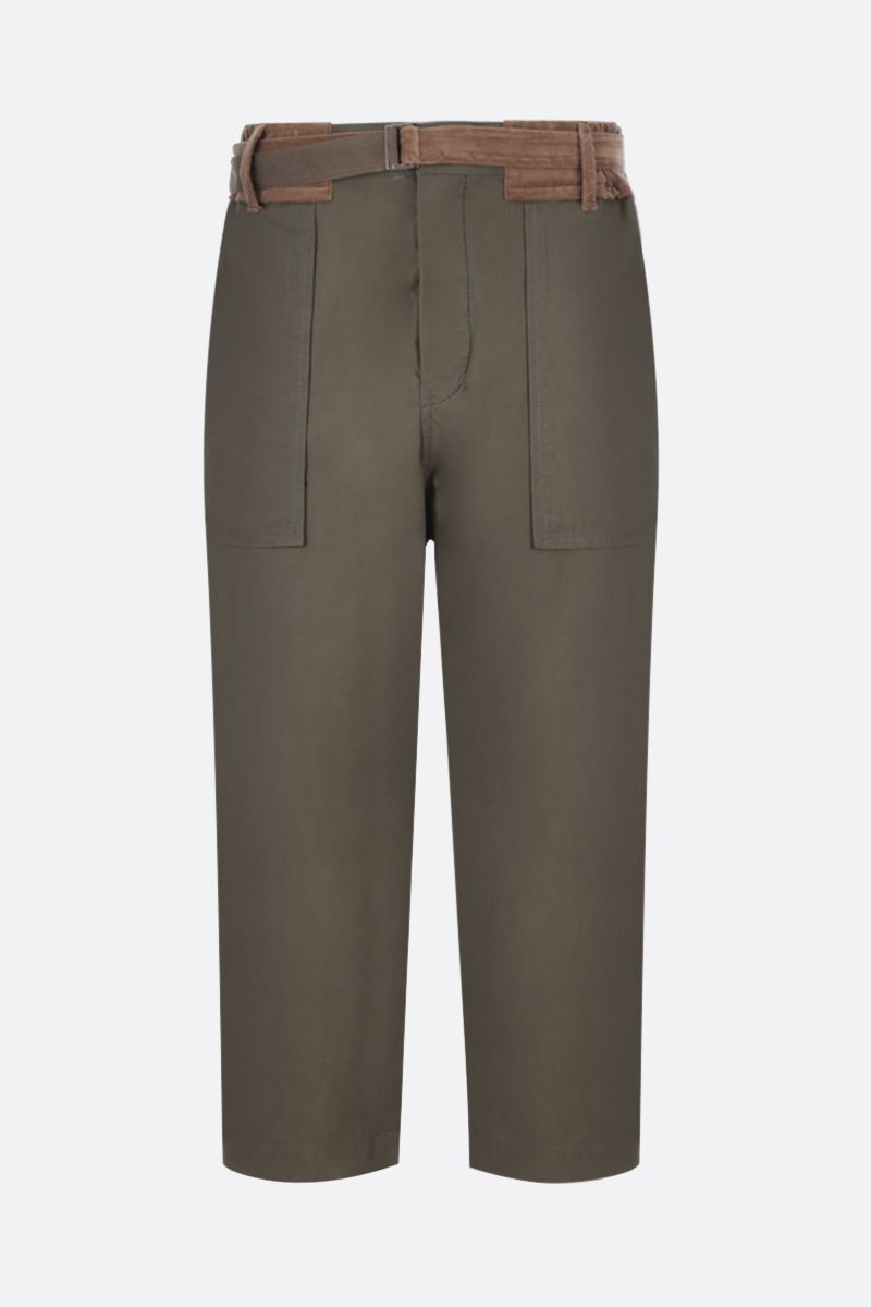 SACAI: technical cotton cargo pants with velvet inserts Color Brown_1
