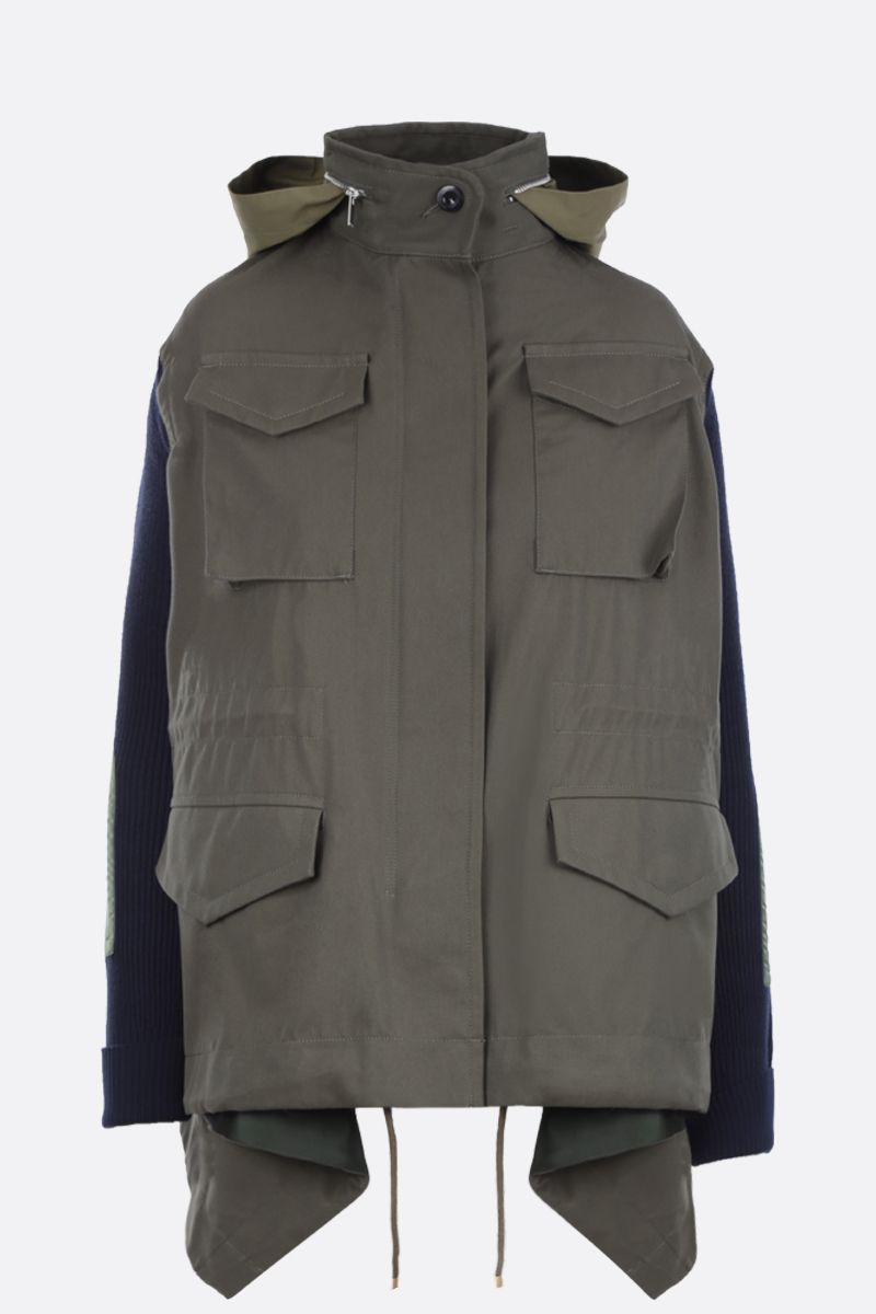 SACAI: twill and ribbed knit parka Color Brown_1