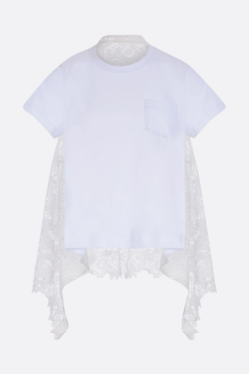 SACAI: jersey t-shirt with lace panel Color White_1