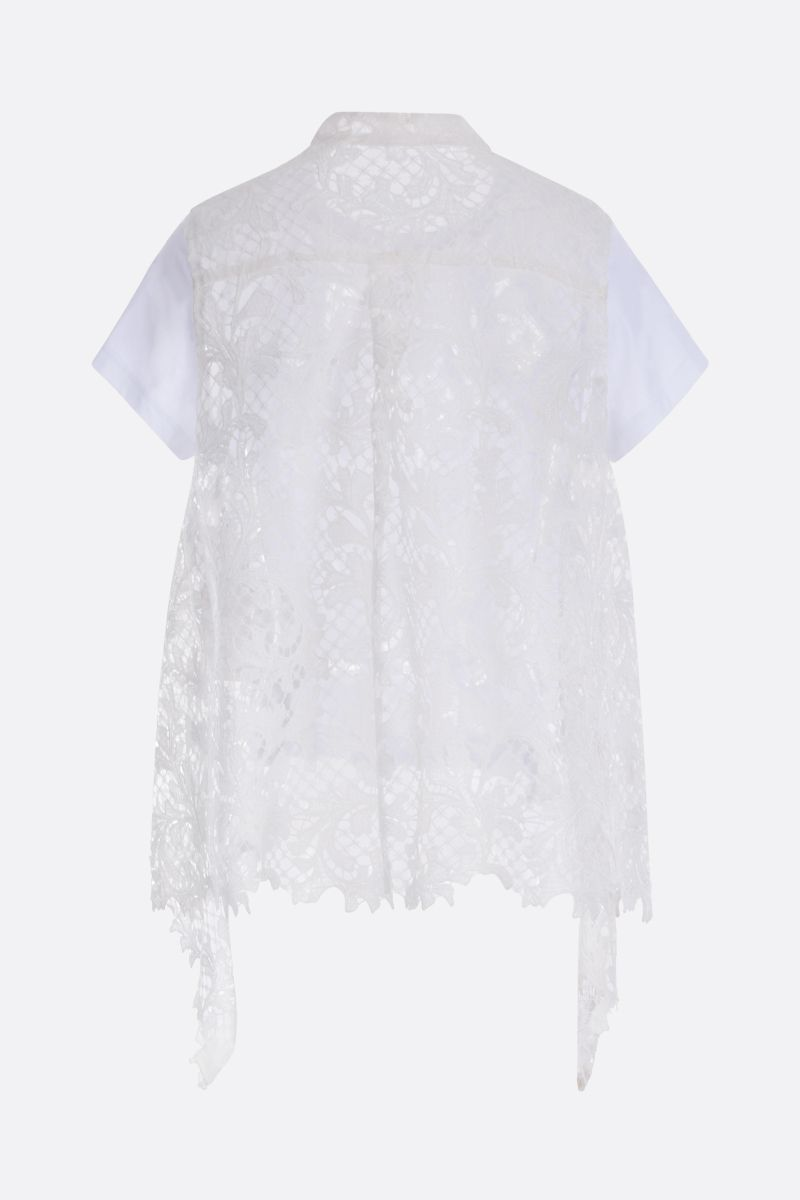 SACAI: jersey t-shirt with lace panel Color White_2