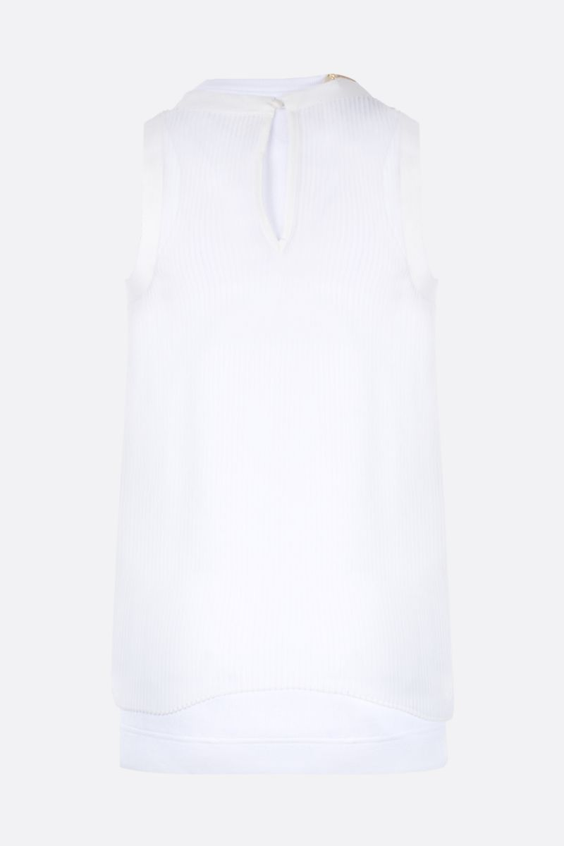 SACAI: ribbed stretch cotton tank top with chiffon panel Color White_2
