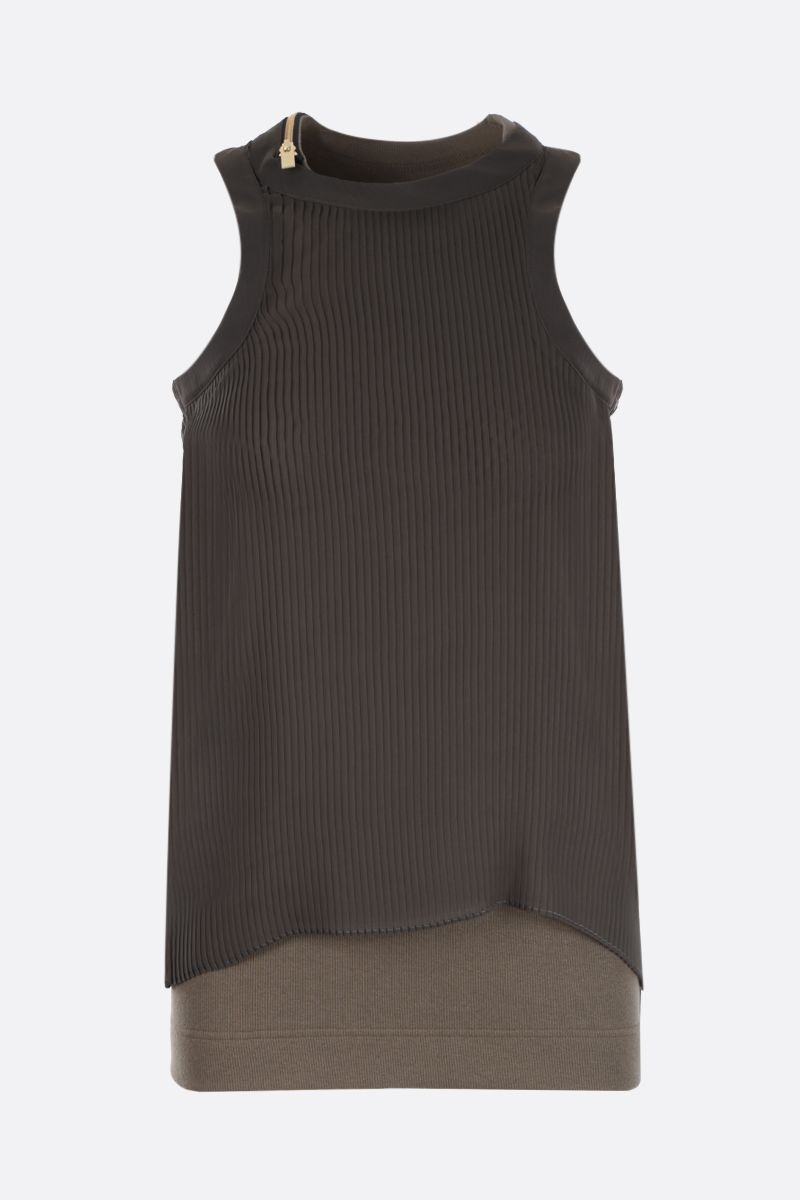 SACAI: ribbed stretch cotton tank top with chiffon panel Color Brown_1